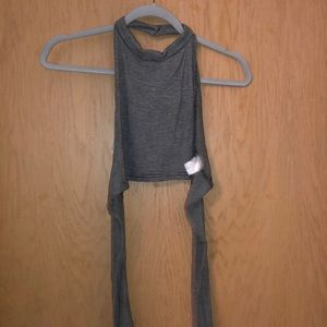 Grey stripped halter top
